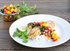 Light and refreshing Tilapia with Mango Salsa   Garnish and Glaze