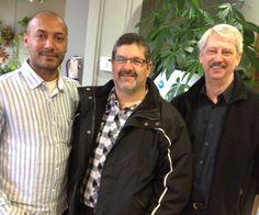 Teja Tanamala, Idea 96 Studio, Rob Volpatti, Service 4 All Trades and Randy Klaassen, A/C Active Care for Seniors at January's Networking Cafe.