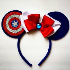 Captain America inspired Minnie Mouse Ears by MakeMeMinnie on Etsy https://www.etsy.com/listing/240010406/captain-america-inspired-minnie-mouse