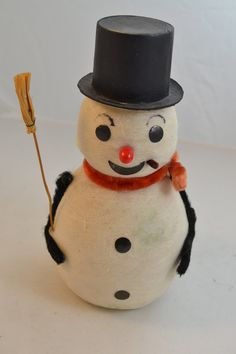 Spun Cotton Snowman with top hat and broom 14053 by MostlyAmerican Christmas Snowman, Christmas Ornaments, Christmas Projects, Spun Cotton, Snowmen, Antiques, Holiday Decor, Top, Vintage