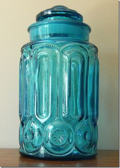 Turquoise glass jar, my mom had this, but in yellow.