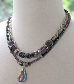 ON SALE necklace amethyst necklace purple necklace by soulfuledges Purple Necklace, Amethyst Necklace, Black Necklace, Beaded Necklace, Pendant Necklace, Jewelery, Jewelry Necklaces, Bohemian Necklace, Faceted Crystal