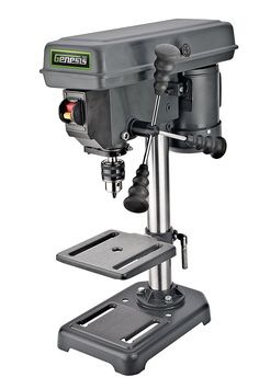 Genesis Amp Drill Press with Chuck, Adjustable Depth Stop, Tilt Table, and Chuck Key Industrial Power Tools, Tilt Table, Circular Saw Reviews, Speed Drills, Key Storage, Cordless Circular Saw, Drilling Machine, Power Hand Tools, Hard Metal