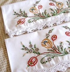 Vintage Embroidered Pillow Cases Floral Orange Green Brown New Old Stock Unused