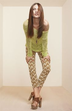 7 For All Mankind® Print Crop Skinny Jeans (Toffee Ikat Print)