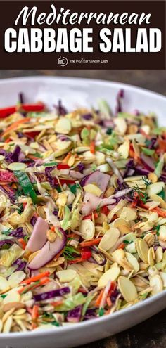 You'll love this extra crunchy and bright Mediterranean Cabbage Salad, a no-mayo coleslaw with loads of fresh veggies, herbs, toasted almonds, and a zippy Dijon vinaigrette! This is the perfect make-ahead salad, and it comes together in 20 minutes! Cabbage Salad Recipes, Easy Salad Recipes, Side Dish Recipes, Vegetarian Recipes, Healthy Recipes, Veggie Recipes, Dinner Recipes, Mediterranean Dishes, Mediterranean Diet Recipes
