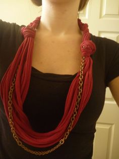 Jersey Necklace From An Old T Shirt • Free tutorial with pictures on how to make a t-shirt scarf in under 30 minutes