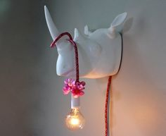 White Faux Taxidermy Rhino Wall Sconce Animal by mysecretlite