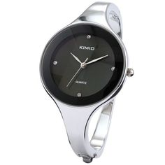 KIMIO Charm Bling Elegant Women Lady Black Dial Bangle Bracelet Quartz Wrist Watch by KIMIO -- Awesome products selected by Anna Churchill