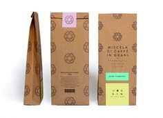 A rebranding of S・I・N was made by Marina Lombardi. The packaging including stationary was stripped down to a more organic form, using substrates that translate to the company's identity. Paper Packaging, Coffee Packaging, Coffee Branding, Cute Packaging, Food Packaging, Organic Packaging, Kraft Packaging, Coffee Label, Pouch Packaging