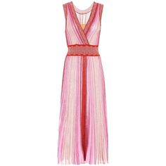 Missoni Striped Sleeveless Dress (10.565 DKK) ❤ liked on Polyvore featuring dresses, multicoloured, colorful striped dress, multicolored dress, colorful dresses, pink dress and missoni dress