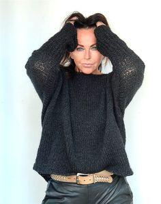 Strikkeopskrift Edderkoppen Mohair Sweater, Blue Jay, Knit Crochet, Turtle Neck, Sewing, Knitting, Sweaters, Cardigans, How To Wear