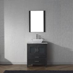 Virtu USA Dior White Marble Single Bathroom Vanity Set with Faucet Options (Charcoal Grey/Grey - polished chrome finish/zebra grey finish), Size Single Vanities Best Bathroom Vanities, Single Sink Bathroom Vanity, Bathroom Vanity Cabinets, White Bathroom, Single Vanities, Small Bathroom, Marble Top, White Marble, Square Sink