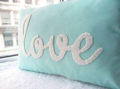 Light Teal Love Pillow, via Etsy shop: Honey Pie Design, $35