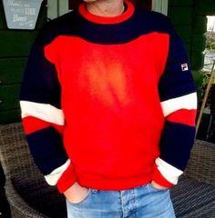 +++Size L FILA rare vintage 80s crew neck ski/sports jumper RED Cream/blue+++   eBay  £50