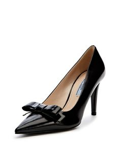 Leather Pointed-Toe Bow High Pump.  Beautiful!