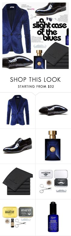 """A slight case of the blues / Newchic"" by yoa316 ❤ liked on Polyvore featuring Versace, Men's Society, Kiehl's, men's fashion and menswear"