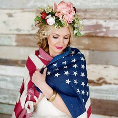 Get ready to swoon over this patriotic wedding inspiration board with rich red, white, & blue details for Independence Day. [Charla Storey]