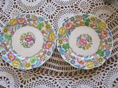 "Royal Albert  English  China Jacobean 8 "" tea or dessert plate lot of 2 floral #RoyalAlbert"