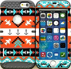 "myLife Stylish Design and Layered Protection Case for iPhone 6 Plus (5.5"" Inch) by Apple {Storm Gray + Orange ""Nautical Aztec Anchor Finish with Kickstand"" Three Piece SECURE-Fit Rubberized Gel} myLife Brand Products http://www.amazon.com/dp/B00PX82OSK/ref=cm_sw_r_pi_dp_kX2Cub10P8TW9"