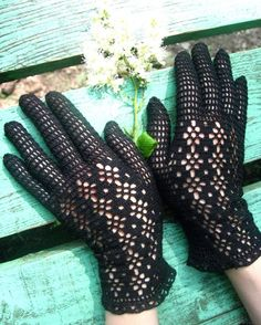 Crocheted gloves lace fishnet black