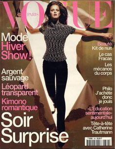 Carmen Kass by Michael Thompson Vogue Paris November 1997 Édito Vogue, Vogue Korea, Vogue India, Carmen Kass, Vogue Magazine Covers, Vogue Covers, Vogue Brazil, Vogue Russia, High Fashion Photography