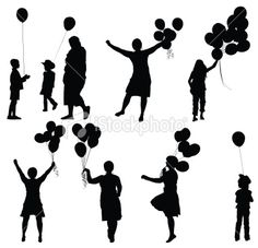 Silhouette of people with balloons Royalty Free Stock Vector Art Illustration