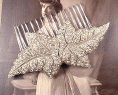 Original 1920s - 1930s Art Deco Rhinestone Leaf Bridal Hair Comb Vintage Great Gatsby Heirloom Pave Brooch to OOAK Silver HairComb Wedding