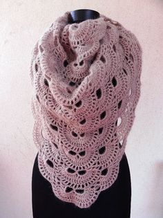 Mink crocheted scarf virus shawl romantic boho by Handpaintedworld