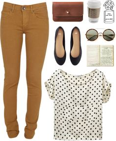 drop crotch pant, polka dot tee, black flats, and thin black belt.