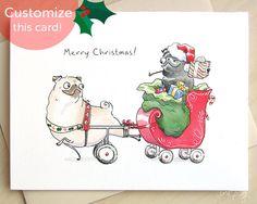 Pulling the Sleigh Pug Christmas cards - mobility cart pug, funny dog Christmas cards, Santa pug cards, black pug and fawn pug by Inkpug