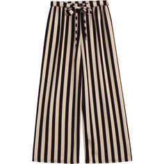 Belted Striped Pants Stripe ($20) ❤ liked on Polyvore featuring pants, zaful, pink pants, stripe pants, pink trousers, striped trousers and striped pants