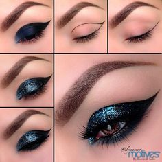 35 Glitter Eye Makeup Tutorials - Glittery Cat Eyes Makeup Tutorial - Step By Step DIY Glitter Eye Make Up Tutorials that WIll Make Yours Eyes Sparkle - Silver and Gold Linda Hallberg Looks, Awesome Eyeshadow Products, Urban Decay and Looks for Your Eyebr Smokey Eyes Tutorial, Cat Eye Makeup Tutorial, Glitter Makeup Tutorial, Glitter Makeup Looks, Glitter Eyeshadow, Makeup Tutorials, Makeup Ideas, Eyeshadow Tips, Makeup Tips