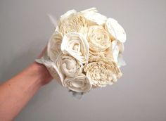 Romanitc Balsa Wood Flower Bridal Bouquet by ReflectGlamour, $75.00