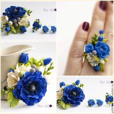 Купить Комплект с синей анемоной и фрезией - тёмно-синий, синий, васильковый, анемоны, фрезия, Бруния