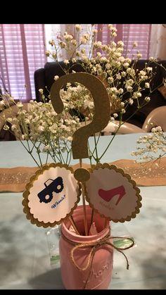 Wheels or Heels decorations Glitter Gender Reveal, Gender Reveal Themes, Gender Reveal Party Decorations, Baby Gender Reveal Party, Gender Party, Baby Shower Tree, Baby Shower Yellow, Gender Neutral Baby Shower, Gender Prediction