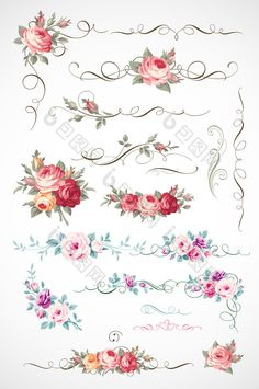 Calligraphic floral ornament with vintage roses for page decoration. Vector bouquet of blooming flowers Vintage Rosen, Page Decoration, Antique Wallpaper, Vector Logo Design, Magic Circle, China Painting, Decoupage Paper, Blooming Flowers, Rose Design