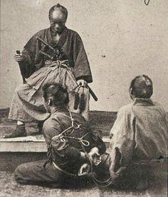 Prisoner before the magistrate, 19th century Edo period.