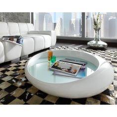 Table basse design blanc laqué Cascada