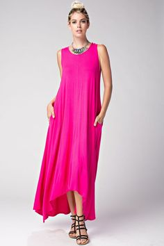 Long Draped maxi dress with pockets Fabric : 95%RAYON 5%SPANDEX Made In : U.S.A.