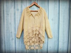 LXL Shabby Chic Cardigan Sweater// Tea Stained by emmevielle, $79.00