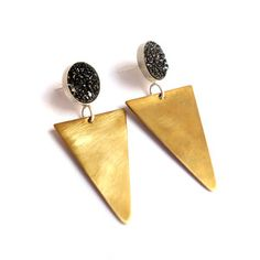 Triangle Studs Black Druzy, $75, now featured on Fab.
