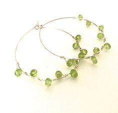 Peridot Hoop Earrings Sterling Silver Hoops Lime by KsaDesigns