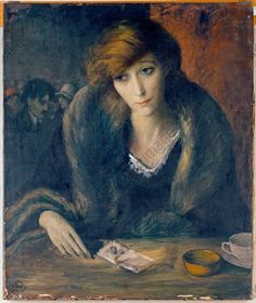 Portrait of a young woman sitting at a table in a cafe, 1930 by IMRE GOTH (Hungarian:British, 1893-1982)