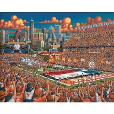 "Texas Longhorns by Eric Dowdle - Eric has captured the energy of Texas pride and the University of Texas football program in this painting. Set against the backdrop of the capitol city, Austin, this football game is about to get underway. Fans are all waving their ""Hook 'Em Horns"" while the marching band and the players enter the field at the beginning of the game."
