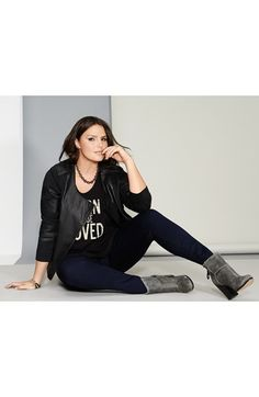 Two by Vince Camuto Moto Jacket, Tee & KUT from the Kloth Skinny Jeans (Plus Size)  available at #Nordstrom