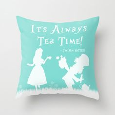 Alice In Wonderland Throw Pillow Cover Blue It's by ShayItWithLove