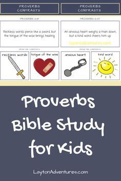 Proverbs Bible Study for Kids - free contrasting worksheets to help show the imagery and character qualities in Proverbs. Youth Bible Study Lessons, Family Bible Study, Free Bible Study, Bible Study For Kids, Bible For Kids, Sabbath Activities, Bible Activities For Kids, Bible Stories For Kids, Bible Games