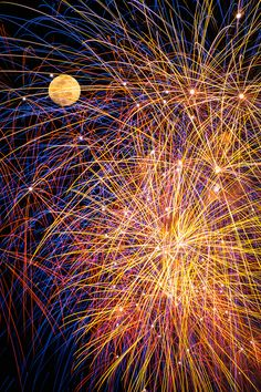 fireworks and the full moon