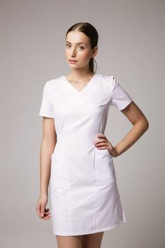 Is Dental Healthcare African Wear, African Dress, African Fashion, White Nurse Dress, White Scrubs, Uniform Dress, Work Uniforms, Uniform Design, Medical Scrubs